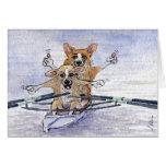 Welsh Corgi dog rowing Cards