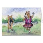 Welsh Corgi dog Scottish dancing Greeting Card