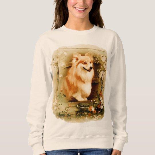 Welsh Corgi in Floral Frame Sweatshirt