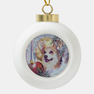 Welsh Corgi in Winter Window Ceramic Ball Christmas Ornament