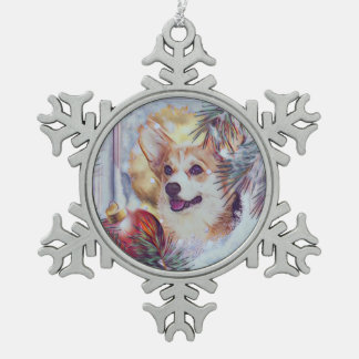 Welsh Corgi in Winter Window Snowflake Pewter Christmas Ornament
