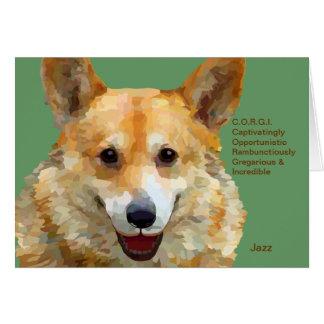 "Welsh Corgi ""Jazz"" Fences For Fido Note Card"