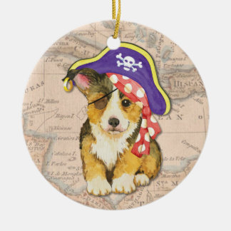 Welsh Corgi Pirate Christmas Ornament