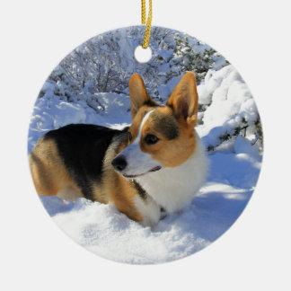 Welsh Corgi Snow Day Christmas Ornament