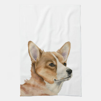 Welsh Corgi Watercolor Painting Tea Towel