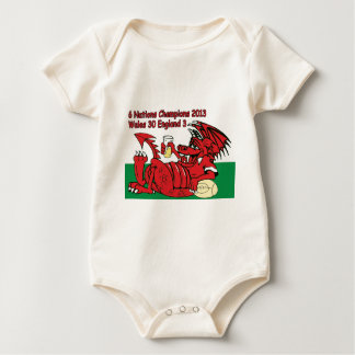 Welsh Dragon, 6 Nations Champions, Wales v England Baby Bodysuit