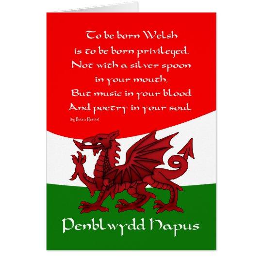Welsh Dragon Birthday Card - Poem by Brian
