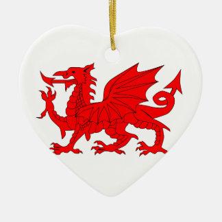 Welsh Dragon Ceramic Heart Decoration