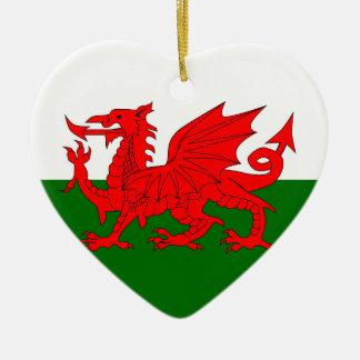 Welsh Dragon Flag Ceramic Heart Decoration