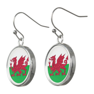 Welsh dragon flag earrings