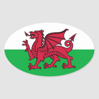 Welsh Dragon Oval Sticker
