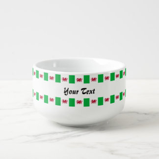 Welsh dragon pattern soup bowl with handle