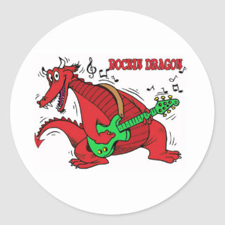 Welsh Dragon Rockin Classic Round Sticker