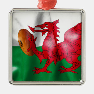 Welsh Dragon Rugby Ball Flag Silver-Colored Square Decoration