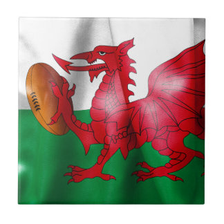 Welsh Dragon Rugby Ball Flag Small Square Tile