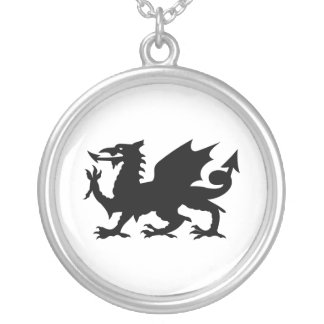 Welsh Dragon Silver Plated Necklace