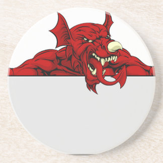 Welsh Dragon Sports Mascot Sign Drink Coasters