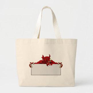 Welsh Dragon Sports Mascot Sign Large Tote Bag