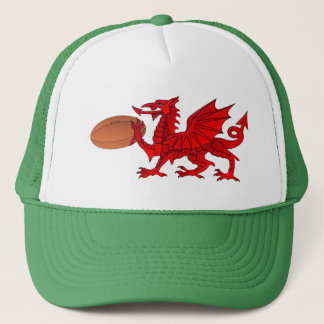 Welsh Dragon With a Rugby Ball Trucker Hat