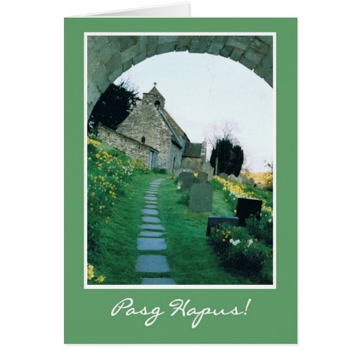 Welsh Easter Card with Quaint Old Church