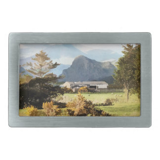 WELSH FARM AND MOUNTAIN LANDSCAPE RECTANGULAR BELT BUCKLE