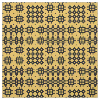 Welsh Faux Tapestry Black, Yellow Pattern Fabric