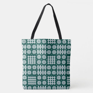 Welsh Faux Tapestry White on Dark Green Tote Bag