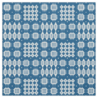 Welsh Faux Tapestry White on Navy Blue Pattern Fabric