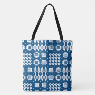 Welsh Faux Tapestry White on Navy Blue Tote Bag