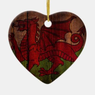 Welsh flag. ceramic heart decoration