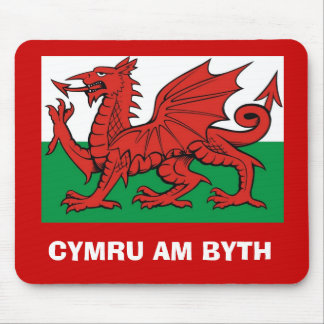 "Welsh flag, ""Cymru am byth"",   The red dragon Mouse Pad"