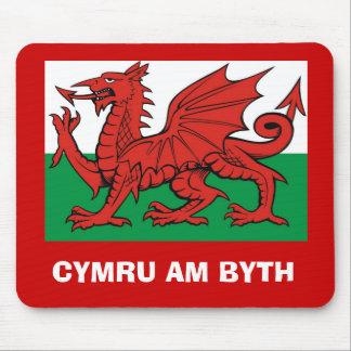 "Welsh flag, ""Cymru am byth"",   The red dragon Mouse Pad"
