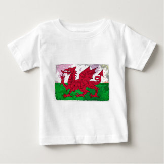 Welsh Flag Grunge Baby T-Shirt