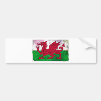 Welsh Flag Grunge Bumper Sticker