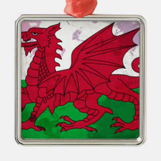 Welsh Flag Grunge Christmas Ornament