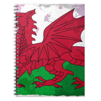 Welsh Flag Grunge Spiral Notebook