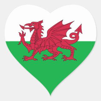 Welsh Flag Heart Sticker