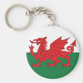Welsh Flag Keyring Basic Round Button Key Ring