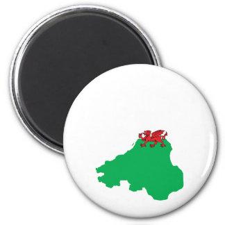 Welsh Flag Map full size 6 Cm Round Magnet