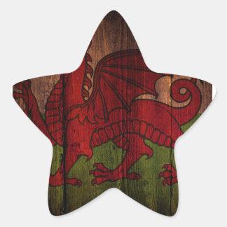 Welsh flag. star sticker