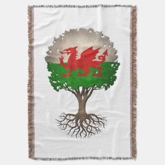 Welsh Flag Tree of Life Customizable Throw Blanket