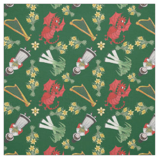 Welsh Girl Dragons Leeks Daffodils Harps on Green Fabric