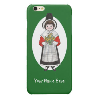 Welsh Girl in Costume, Green and White Background iPhone 6 Plus Case