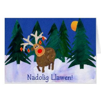Welsh Greeting, Reindeer, Fun Christmas Card