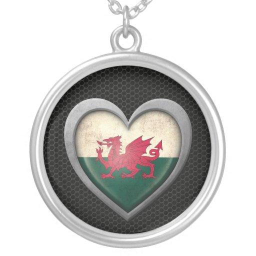 Welsh Heart Flag Steel Mesh Effect Jewelry