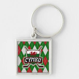 Welsh Ice Hockey Keyring, Wales Flag Key Ring