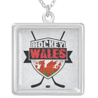 Welsh Ice Hockey Shield Penant Silver Plated Necklace