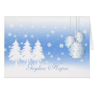 Welsh Language Christmas Card Gwyliau Hapus Happy