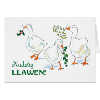 Welsh Language Greeting Christmas Geese Card