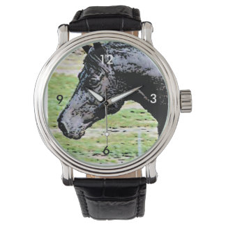 Welsh Pony Black Horse Head Ink Drawing Art Wristwatch